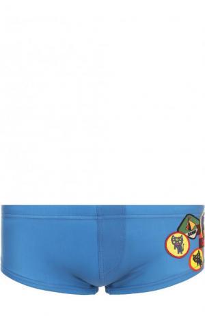 Плавки с принтом Dsquared2. Цвет: синий