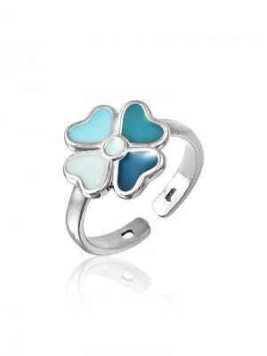 Детское кольцо с эмалью Цветочек KU&KU. Цвет: белый, лазурный, серебристый