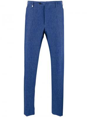 Зауженные брюки Corneliani. Цвет: синий