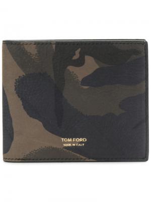 Бумажник с камуфляжным принтом Tom Ford. Цвет: зелёный