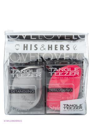Расчески с крышкой Компакт стайлер НАБОР-ПОДАРОК Tangle Teezer. Цвет: розовый, серый