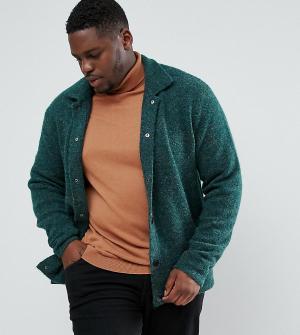 ASOS Зеленая фактурная трикотажная куртка Харрингтон PLUS. Цвет: зеленый