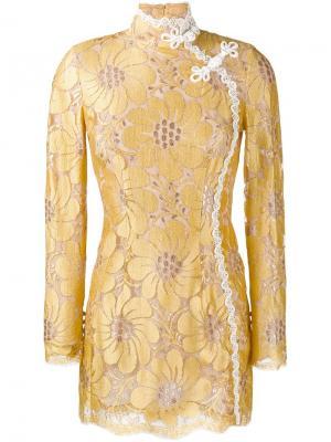 Платье мини с цветочной вышивкой Alessandra Rich. Цвет: жёлтый и оранжевый