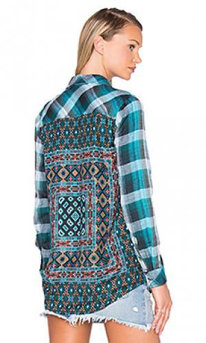 Рубашка с застёжкой на пуговицах emma Tolani. Цвет: сине-зеленый