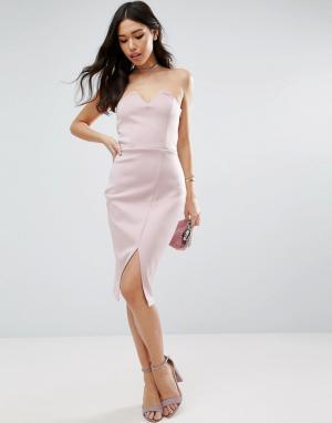ASOS Платье миди бандо. Цвет: фиолетовый