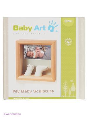 Рамочка с объем. слепками и фото (дерево) Baby Art. Цвет: бежевый