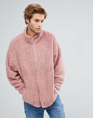 ASOS Спортивная оверсайз-куртка из искусственного меха. Цвет: розовый