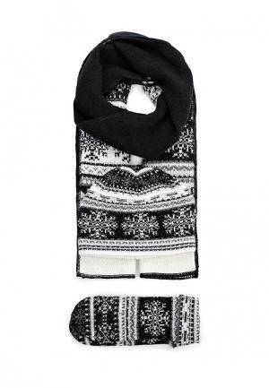 Комплект шапка, шарф и варежки Ferz. Цвет: черно-белый