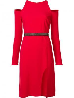 Платье с открытыми плечами Halston Heritage. Цвет: красный