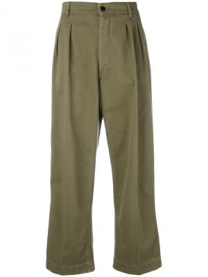 Pleated front cropped trousers The Seafarer. Цвет: зелёный