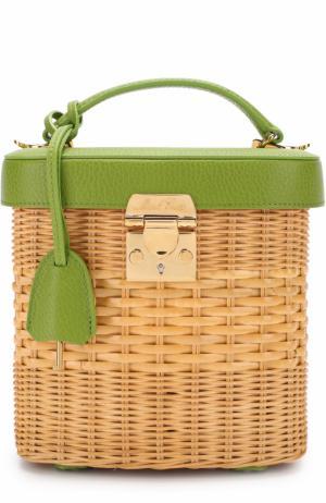 Плетеная сумка Benchley Mark Cross. Цвет: зеленый