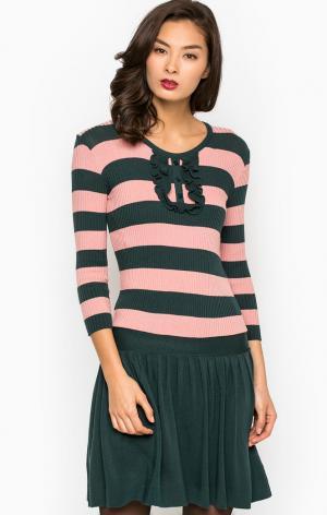 Платье POIS. Цвет: бирюзовый, полоска, розовый