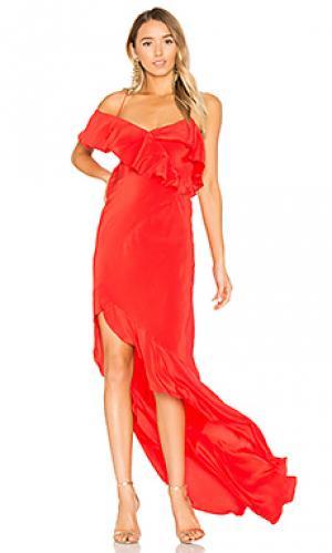 Вечернее платье с рюшами и асимметричным подолом Michelle Mason. Цвет: красный