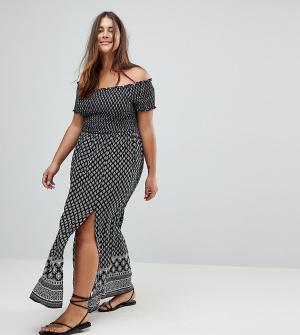City Chic Пляжное платье с открытыми плечами. Цвет: черный