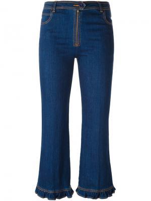 Укороченные джинсы с оборками Manoush. Цвет: синий