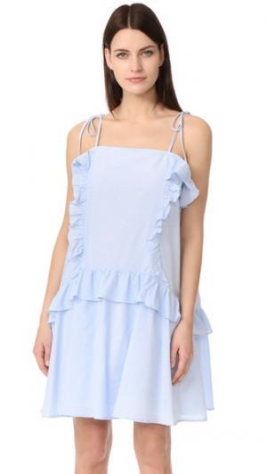 Платье с оборками Moon River. Цвет: светло-голубой