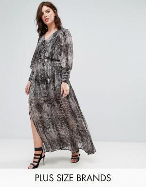 Elvi Длинное платье с принтом. Цвет: мульти