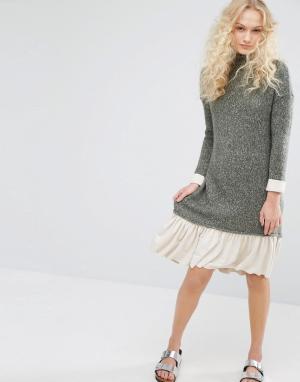 I Love Friday Вязаное платье с высоким воротом. Цвет: зеленый