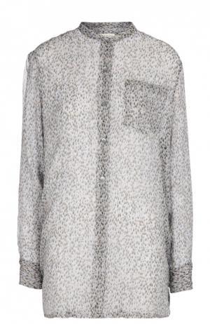 Полупрозрачная удлиненная блуза с воротником-стойкой и накладным карманом Dries Van Noten. Цвет: серый