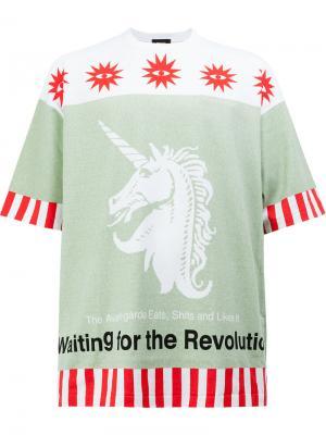 Свободная футболка с принтом Undercover. Цвет: зелёный
