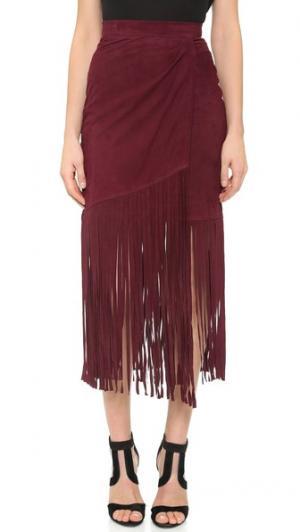 Замшевая юбка с бахромой Tamara Mellon. Цвет: бордовый