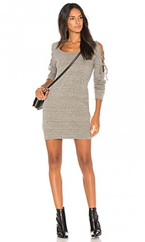 Платье с завязками на плечах Lanston. Цвет: серый
