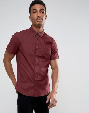 Burton Menswear Узкая оксфордская рубашка бордового цвета. Цвет: красный