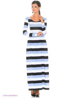 Длинное платье Полоска серо-белая ANASTASIA PETROVA