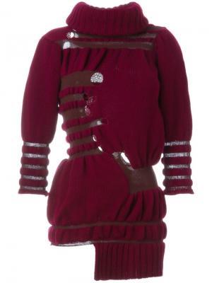 Асимметричный свитер с отворотной горловиной Helen Lawrence. Цвет: красный
