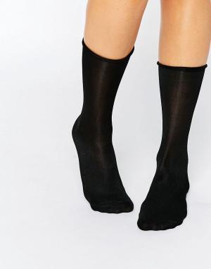 Jonathan Aston Черные хлопковые невидимые носки. Цвет: черный