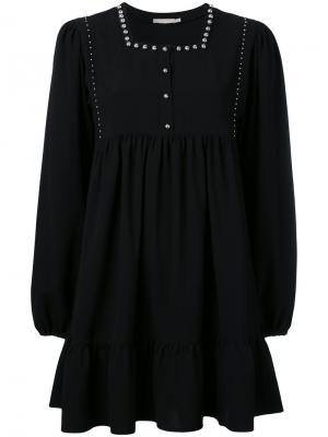 Расклешенное платье с заклепками Amen. Цвет: чёрный