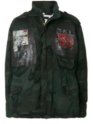 Камуфляжное пальто с нашивками Pihakapi. Цвет: зелёный