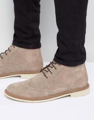 Tommy Hilfiger Замшевые ботинки-броги на шнуровке Metro. Цвет: stone