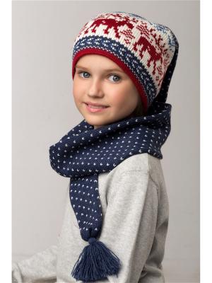 Шапка-шарф Scandica. Цвет: серо-голубой, темно-красный