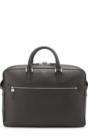 Кожаная сумка для ноутбука Serapian. Цвет: темно-коричневый