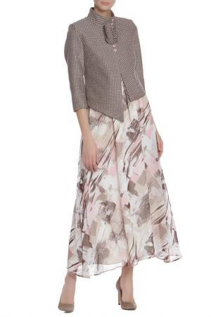 Костюм: жакет, платье Adzhedo. Цвет: персиковый, черный, рябушка