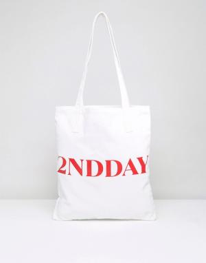 2nd Day Парусиновая сумка-тоут 2NDDAY Lover. Цвет: белый