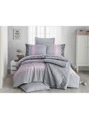 Комплект постельного белья DREAMY ранфорс, 140ТС, 100% хлопок, евро ISSIMO Home. Цвет: серый