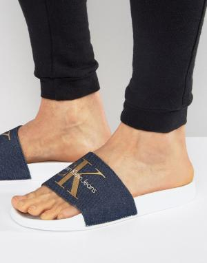 Calvin Klein Шлепанцы из денима с логотипом Viggo. Цвет: синий