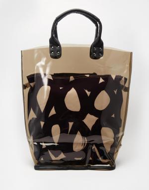 Echo Пляжная сумка-тоут со съемным внутренним карманом. Цвет: черный