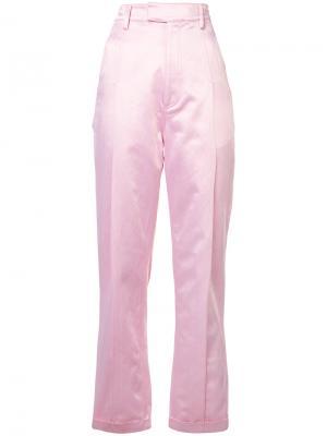 Прямые брюки с отворотами Rosie Assoulin. Цвет: розовый и фиолетовый