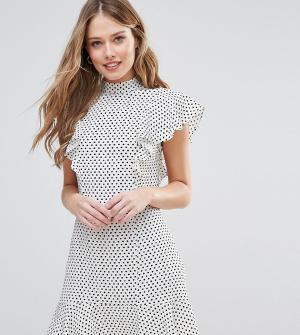 Closet London Платье с отделкой рюшами в горошек. Цвет: мульти