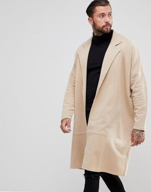 ASOS Длинное трикотажное пальто. Цвет: бежевый