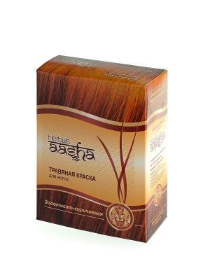 Краска для волос травяная Золотисто-коричневая, 60 г Aasha Herbals. Цвет: золотистый