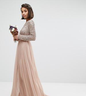 Maya Petite Платье макси из тюля с пайетками и длинными рукавами. Цвет: розовый