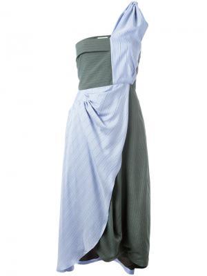 Асимметричное платье в полоску J.W.Anderson. Цвет: синий