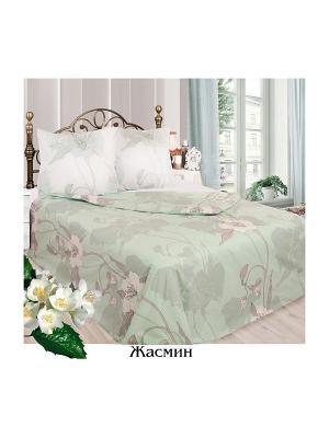 Постельное белье 2 сп.простыня на резинке Sova and Javoronok. Цвет: бежевый, белый, светло-зеленый