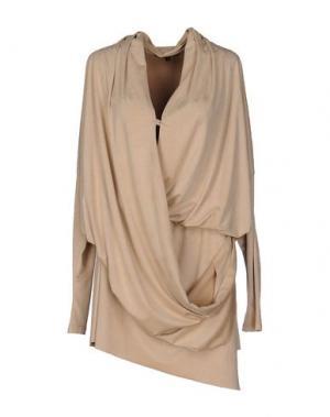 Короткое платье MARIAGRAZIA PANIZZI. Цвет: бежевый