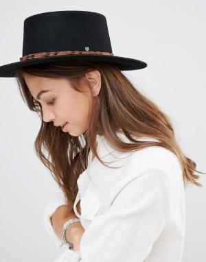 Brixton Фетровая шляпа с контрастной кожаной отделкой Matador. Цвет: черный