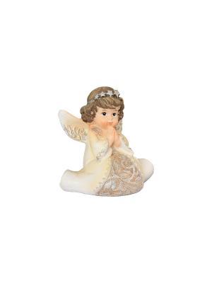 Фигурка декоративная Ангел со звездами Elan Gallery. Цвет: бежевый, молочный, золотистый, серебристый